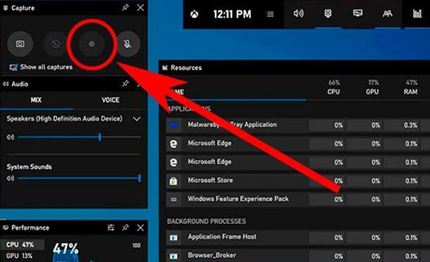 Iniciar la grabacion de pantalla en Windows 10
