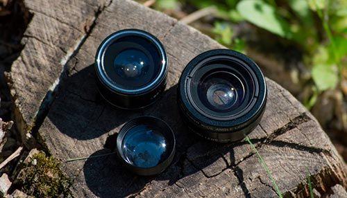 Objetivo y lentes de una camara movil